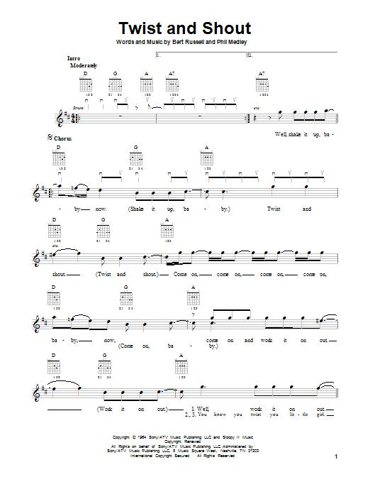 Tablature guitare Twist And Shout de The Beatles - Tablature guitare facile