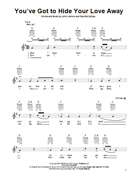 Tablature guitare You've Got To Hide Your Love Away de The Beatles - Tablature guitare facile