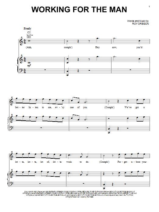 Partition piano Working For The Man de Roy Orbison - Piano Voix Guitare (Mélodie Main Droite)