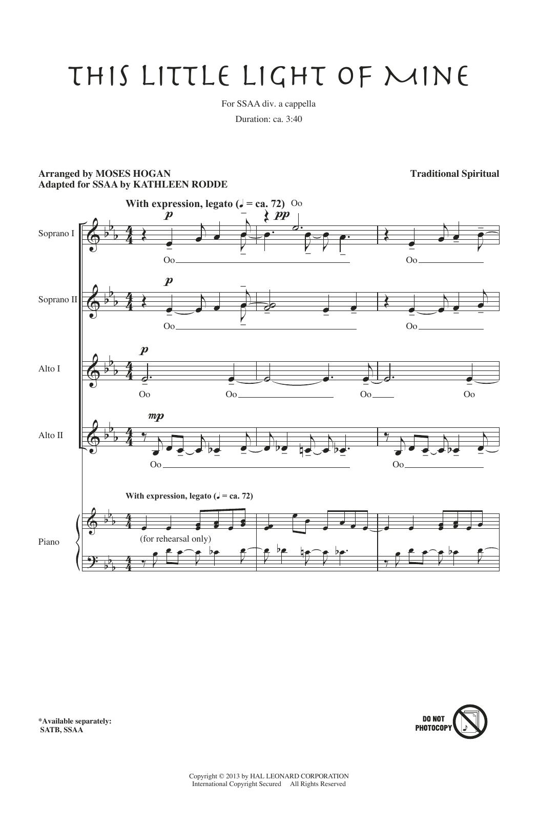 Partition chorale This Little Light Of Mine de Kathleen Rodde - SSA