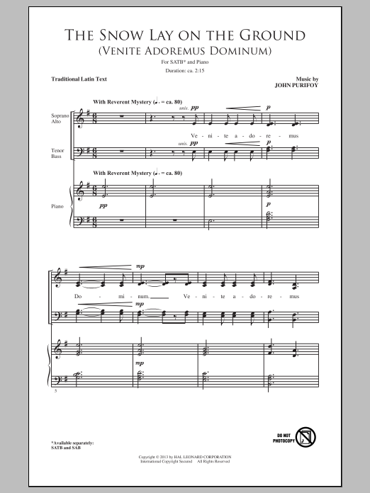 Partition chorale The Snow Lay On The Ground (Venite Adoremus Dominum) de John Purifoy - SATB