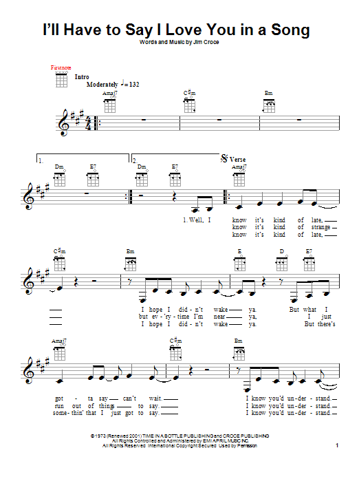 Tablature guitare I'll Have To Say I Love You In A Song de Jim Croce - Ukulele