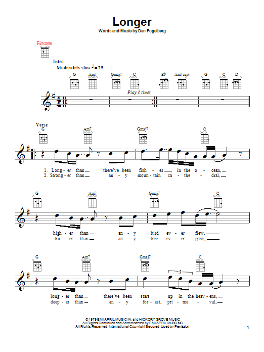 Tablature guitare Longer de Dan Fogelberg - Ukulele