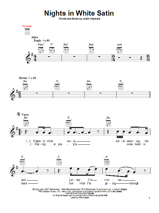 Tablature guitare Nights In White Satin de The Moody Blues - Ukulele
