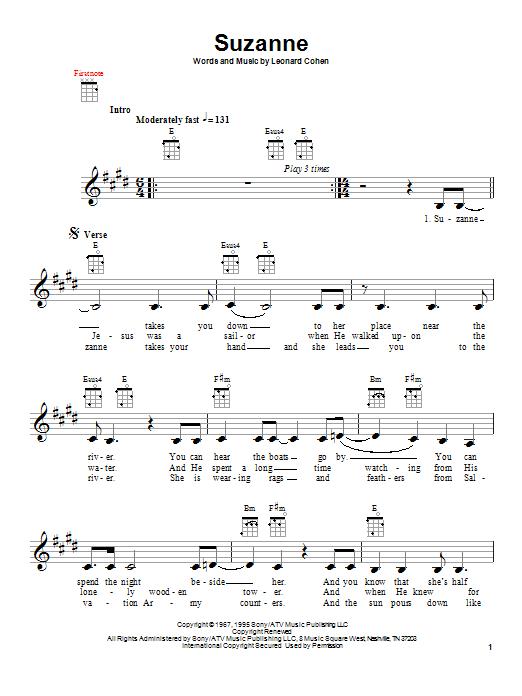 Tablature guitare Suzanne de Leonard Cohen - Ukulele