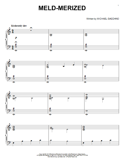 Partition piano Meld-Merized de Michael Giacchino - Piano Solo