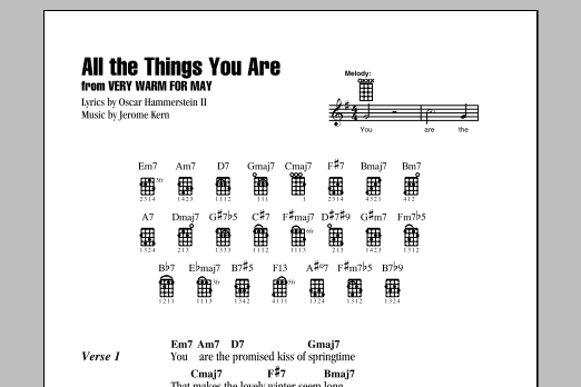 Tablature guitare All The Things You Are de Oscar Hammerstein II - Ukulele (strumming patterns)