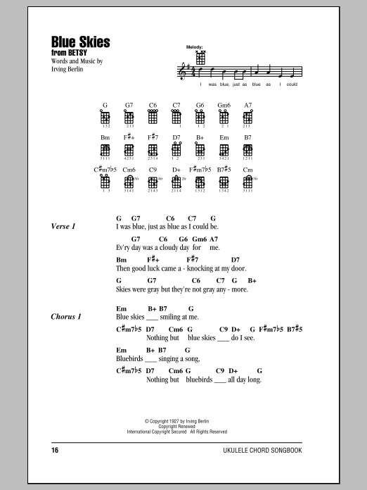 Tablature guitare Blue Skies de Irving Berlin - Ukulele (strumming patterns)