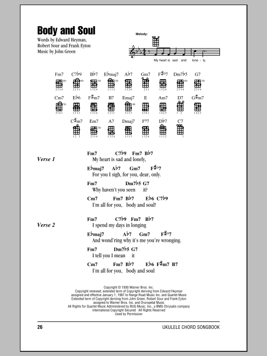 Tablature guitare Body And Soul de Tony Bennett & Amy Winehouse - Ukulele (strumming patterns)