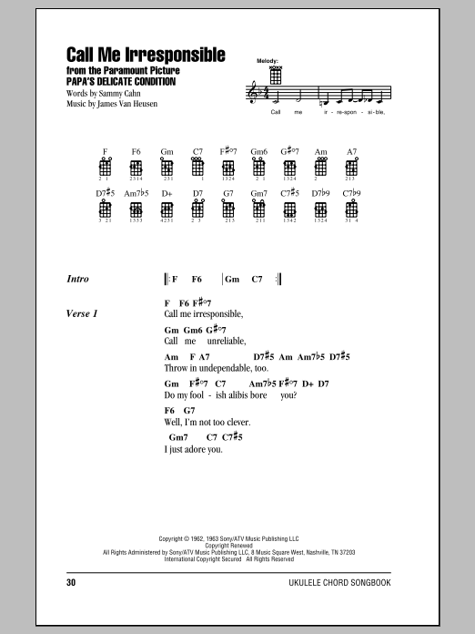 Tablature guitare Call Me Irresponsible de Frank Sinatra - Ukulele (strumming patterns)