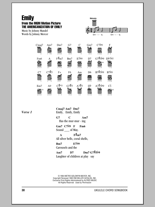 Tablature guitare Emily de Johnny Mandel - Ukulele (strumming patterns)