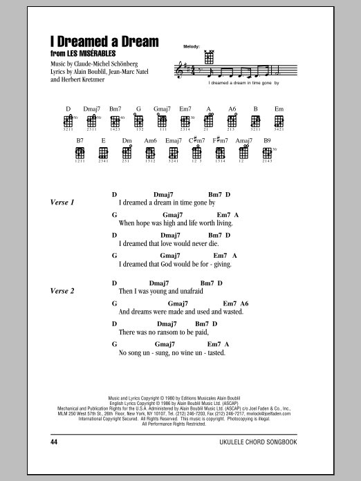 Tablature guitare I Dreamed A Dream de Claude-Michel Schonberg - Ukulele (strumming patterns)