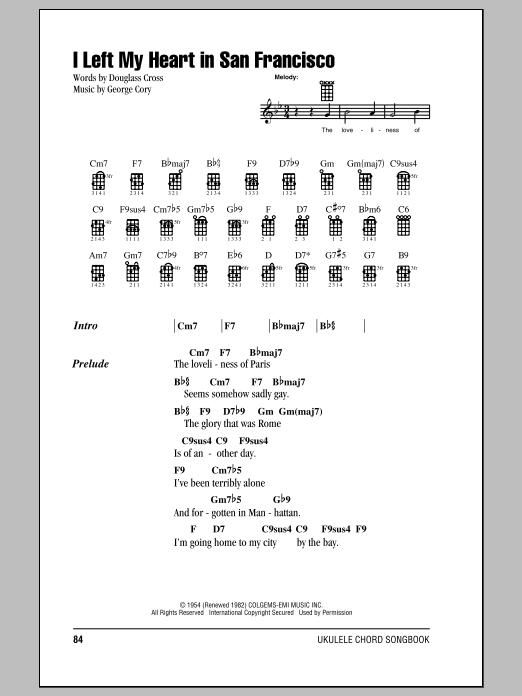 Tablature guitare I Left My Heart In San Francisco de Tony Bennett - Ukulele (strumming patterns)
