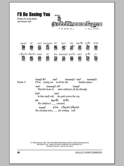 Tablature guitare I'll Be Seeing You de Irving Kahal - Ukulele (strumming patterns)