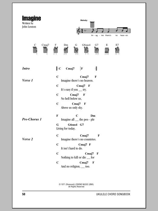 Tablature guitare Imagine de John Lennon - Ukulele (strumming patterns)