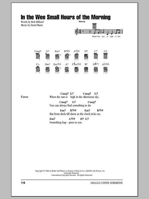 Tablature guitare In The Wee Small Hours Of The Morning de Frank Sinatra - Ukulele (strumming patterns)