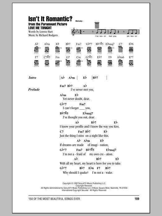 Tablature guitare Isn't It Romantic? de Rodgers & Hart - Ukulele (strumming patterns)