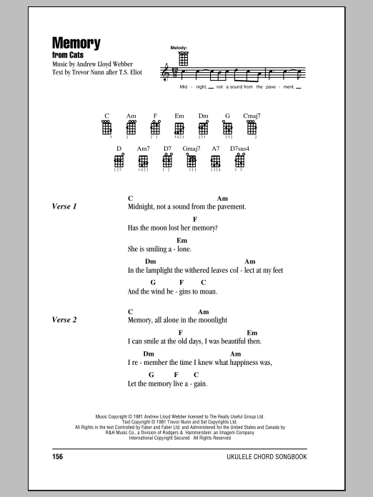 Tablature guitare Memory de Andrew Lloyd Webber - Ukulele (strumming patterns)