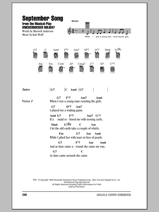Tablature guitare September Song de Frank Sinatra - Ukulele (strumming patterns)