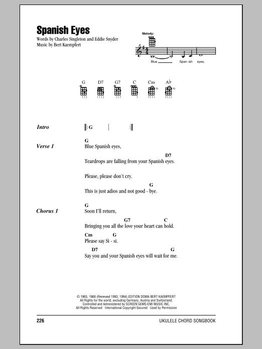 Tablature guitare Spanish Eyes de Elvis Presley - Ukulele (strumming patterns)
