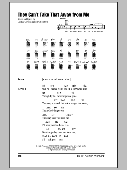 Tablature guitare They Can't Take That Away From Me de Frank Sinatra - Ukulele (strumming patterns)