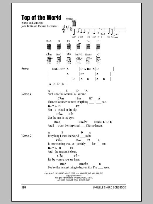 Tablature guitare Top Of The World de The Carpenters - Ukulele (strumming patterns)