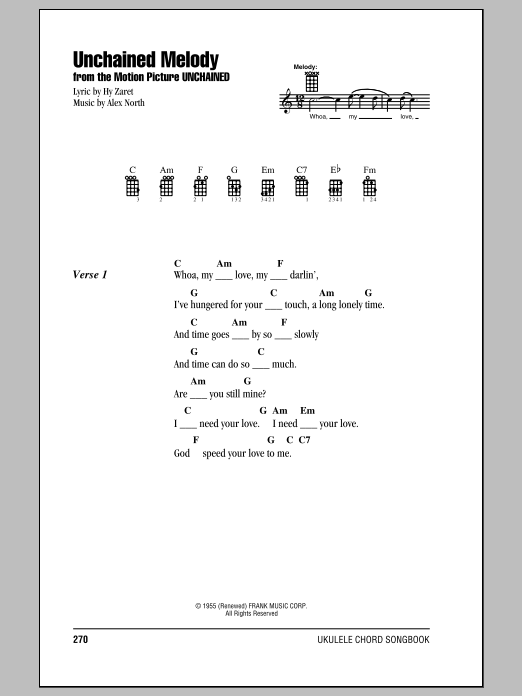 Tablature guitare Unchained Melody de The Righteous Brothers - Ukulele (strumming patterns)