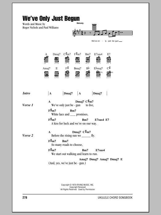 Tablature guitare We've Only Just Begun de The Carpenters - Ukulele (strumming patterns)
