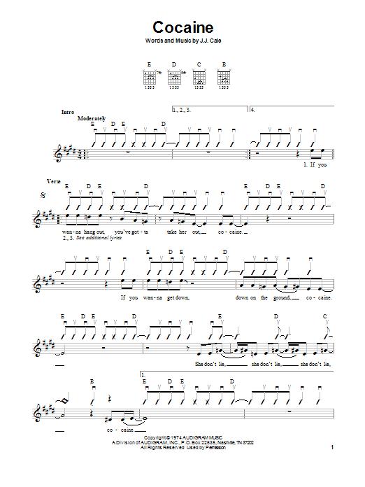 Tablature guitare Cocaine de Eric Clapton - Tablature guitare facile