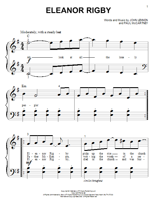 Partition piano Eleanor Rigby de The Beatles - Piano Facile