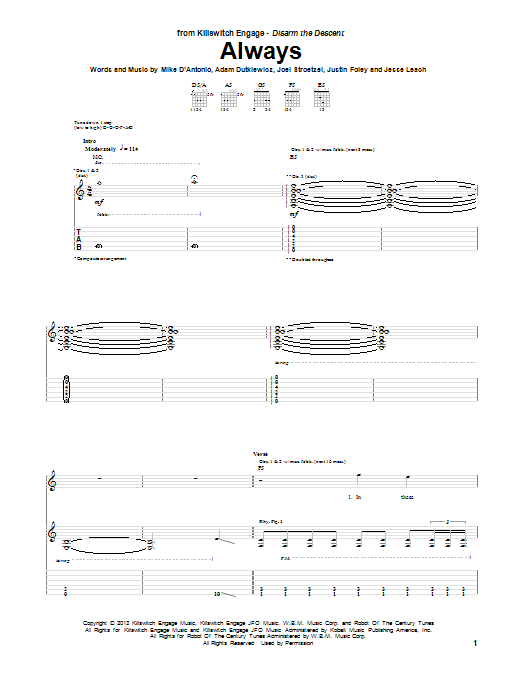 Tablature guitare Always de Killswitch Engage - Tablature Guitare