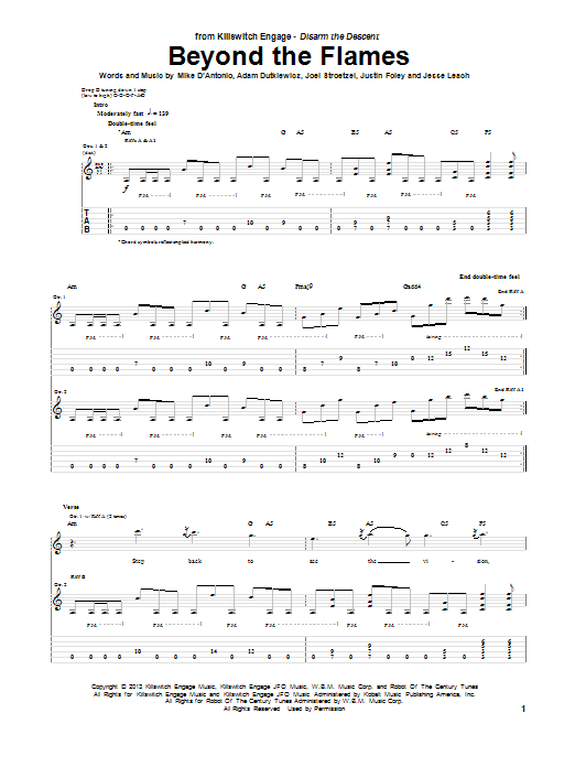 Tablature guitare Beyond The Flames de Killswitch Engage - Tablature Guitare