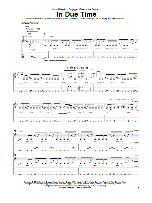 Tablature guitare In Due Time de Killswitch Engage - Tablature Guitare