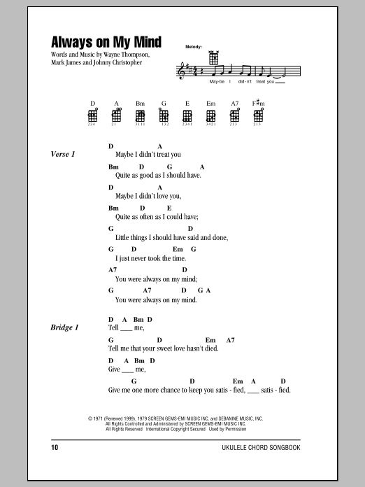 Tablature guitare Always On My Mind de Willie Nelson - Ukulele (strumming patterns)