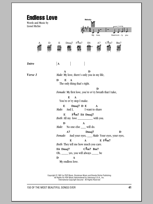 Tablature guitare Endless Love de Lionel Richie - Ukulele (strumming patterns)