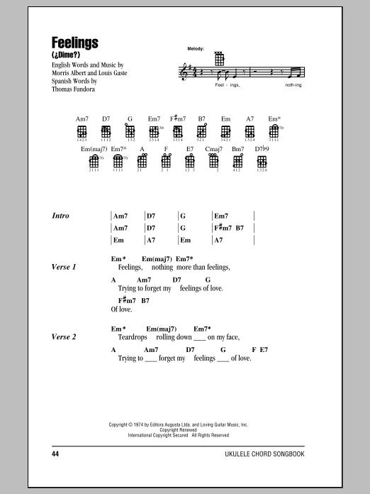 Tablature guitare Feelings (Dime) de Morris Albert - Ukulele (strumming patterns)