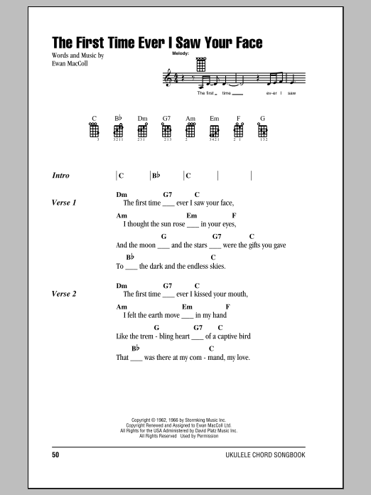 Tablature guitare The First Time Ever I Saw Your Face de Roberta Flack - Ukulele (strumming patterns)