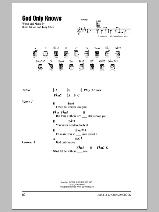 Tablature guitare God Only Knows de The Beach Boys - Ukulele (strumming patterns)