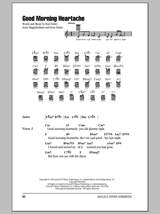 Tablature guitare Good Morning Heartache de Billie Holiday - Ukulele (strumming patterns)