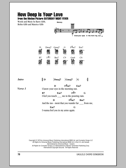 Tablature guitare How Deep Is Your Love de The Bee Gees - Ukulele (strumming patterns)