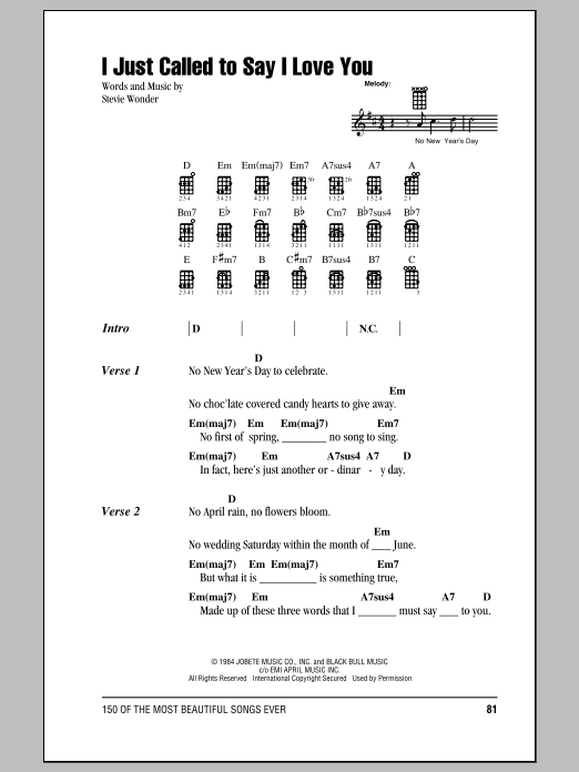 Tablature guitare I Just Called To Say I Love You de Stevie Wonder - Ukulele (strumming patterns)