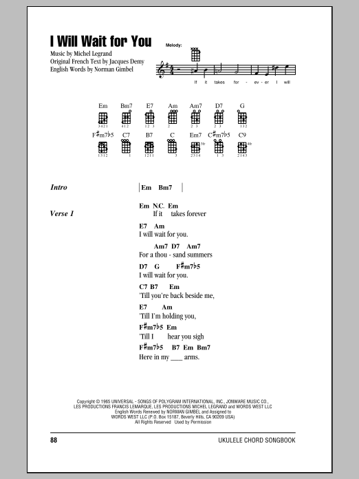 Tablature guitare I Will Wait For You de Michel Legrand - Ukulele (strumming patterns)