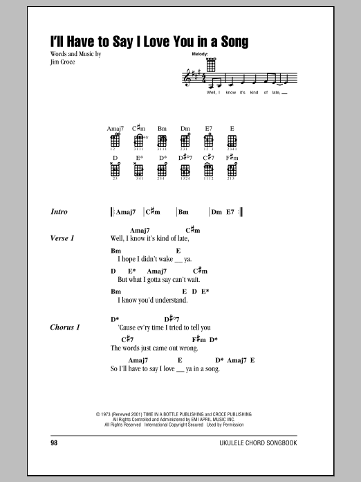 Tablature guitare I'll Have To Say I Love You In A Song de Jim Croce - Ukulele (strumming patterns)