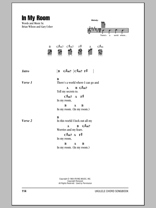 Tablature guitare In My Room de The Beach Boys - Ukulele (strumming patterns)