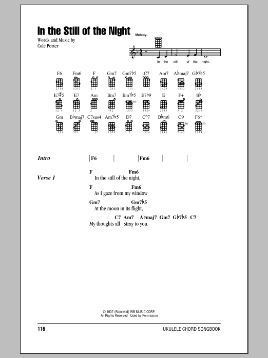 Tablature guitare In The Still Of The Night de Cole Porter - Ukulele (strumming patterns)