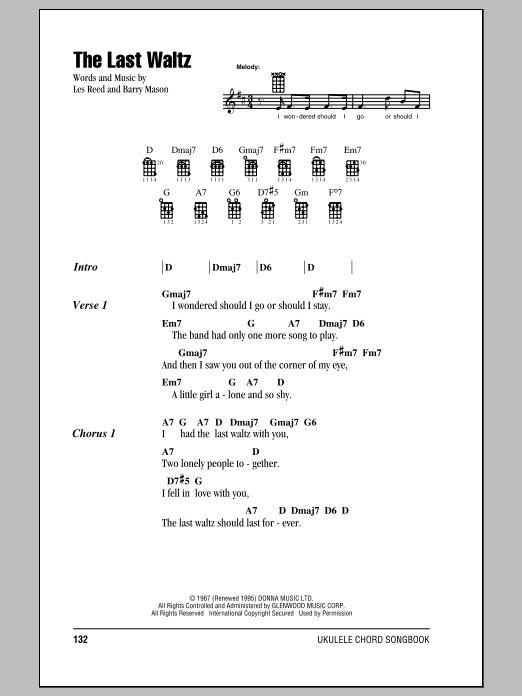 Tablature guitare The Last Waltz de Engelbert Humperdinck - Ukulele (strumming patterns)