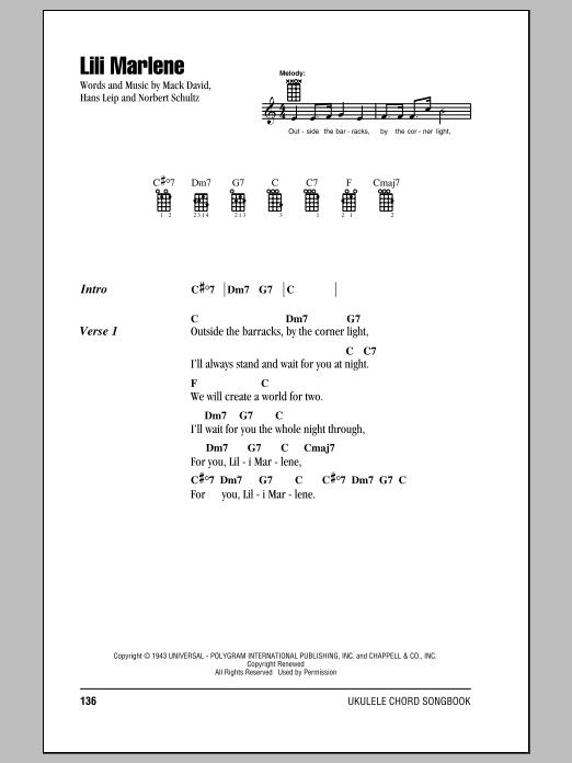 Tablature guitare Lili Marlene de Mack David - Ukulele (strumming patterns)