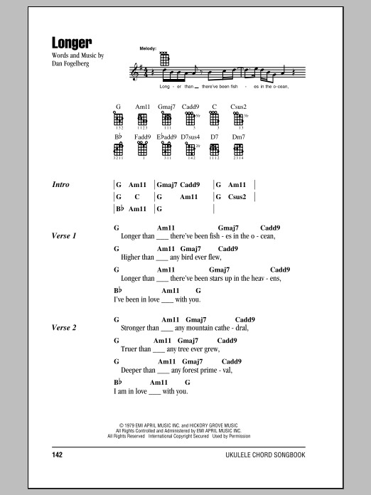 Tablature guitare Longer de Dan Fogelberg - Ukulele (strumming patterns)