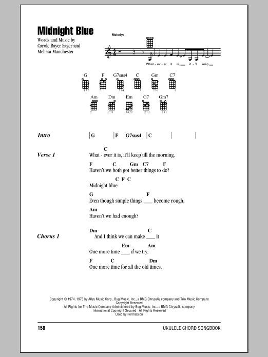 Tablature guitare Midnight Blue de Melissa Manchester - Ukulele (strumming patterns)