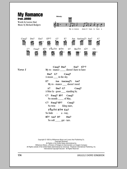 Tablature guitare My Romance de Rodgers & Hart - Ukulele (strumming patterns)
